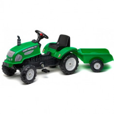 Tractor cu Pedale si Remorca Farm Master 720i Verde, Falk