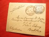 Plic circ. 1926 de la Bucuresti la Bratislava francat cu 7,5 lei albastru uzuale