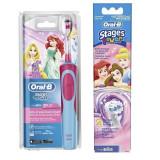 Periuta electrica Oral-B D12.513.K Princess pentru copii + Rezerva periuta electrica 2 capete Oral-B Stages power EB10-2 fetite