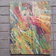 Portret de copil, ulei pe panza, pictura veche, Peisaje, Acuarela, Realism