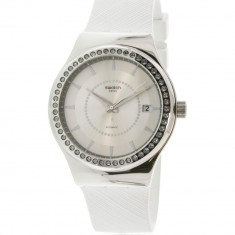Ceas dama Swatch Sistem Snow argintiu Rubber Automatic YIS406