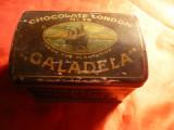Cutie veche de Ciocolata , din tabla emailata Londra - Caladela ,dim=11,8x8x9 cm