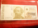 Bancnota 500 australes Argentina , cal. NC