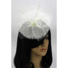 Ivory Mesh Hat Feather Fascinator - LSH00118