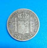 SV  *  Spania  50  CENTIMOS  1892  Regele Alfonso XIII   2.5 g  ARGINT .900