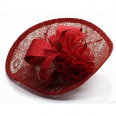 Red Mesh Hat Feather Fascinator - LSH00122