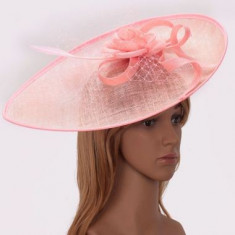 Pink Mesh Hat Feather Fascinator - LSH00200