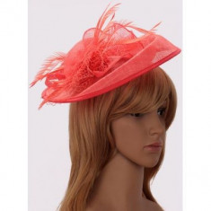Coral Mesh Hat Feather Fascinator - LSH00201