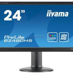 Monitor TN LED iiyama 23.6inch ProLite B2480HS-B2, Full HD (1920 x 1080), VGA, DVI-D, HDMI, 2ms, Boxe, Pivot (Negru), 23.6 inch
