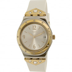 Ceas Swatch dama Mezzanotte YLS451 auriu/argintiu Rubber Swiss Quartz