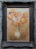 Cumpara ieftin Vaza cu flori galbene, ulei pe carton, pictura veche