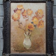 Vaza cu flori galbene, ulei pe carton, pictura veche, Peisaje, Acuarela, Realism