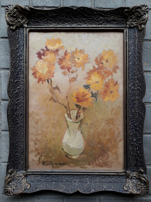 Vaza cu flori galbene, ulei pe carton, pictura veche