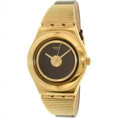 Ceas Swatch dama Medium YLG130 auriu Leather Swiss Quartz