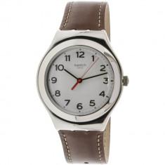 Ceas barbatesc Swatch Strictly argintiu Leather Swiss Quartz YGS131