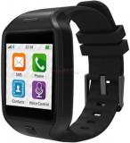 Smartwatch MyKronoz ZeTel, Transflective Capacitive touchscreen, Bluetooth, Bratara silicon, 2G (Negru)