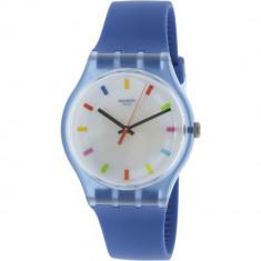 Ceas dama Swatch Color Square albastru Silicone Swiss Quartz SUON125