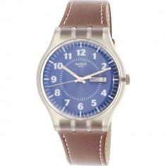 Ceas barbatesc Swatch Vent Brulant transparent Leather Swiss Parts Quartz SUOK709