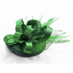 Green Mesh Hat Feather Fascinator On Clip - LSH00102
