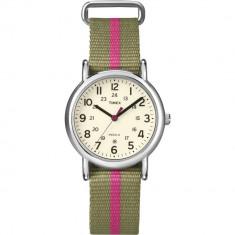 Ceas Timex dama Weekender T2N917 bej Nylon Quartz Fashion - Ceas dama