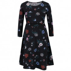 Rochie neagra cu print floral si maneci lungi - Dorothy Perkins Maternity