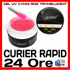 GEL UV ROZ TRANSLUCENT CANNI 15ML - CONSTRUCTIE MANICHIURA, UNGHII FALSE GEL