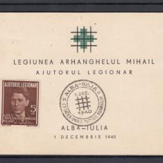 1940 CARNET FILATELIC LEGIONAR CODREANU-POSTA AERIANA STAMPILA ALBA-IULIA - Timbre Romania, Stampilat