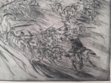 "GRAVURA- MARCEL CHIRNOAGA - ""ATACUL"" ,   EXEMPLAR NUMEROTAT 3/7, Abstract, Cerneala"