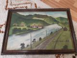 Tablou vechi Valea Oltului la Cozia, Peisaje, Acrilic, Realism