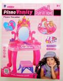 Masa de infrumusetare cu scaunel si pian (12 melodii) oglinda, feon si accesorii - Super jucarie pentru fetite!