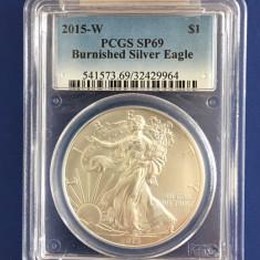 SUA - 1 $ 2015-W  Silver Eagle BURNISHED  - 1oz. Argint .999- PCGS SP69, America de Nord