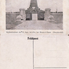 Ramnicu Sarat  -  tema militara, razboi, WK1, WWI-1918- Monumentul german, Necirculata, Printata