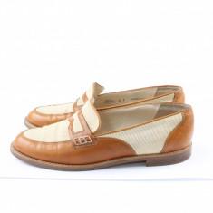 Mocasini Bally, designer, piele naturala interior, exterior, talpa PRET SPECIAL - Pantof dama Bally, Culoare: Bej, Marime: 38, Cu talpa joasa