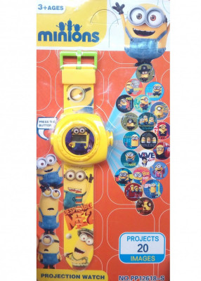 Ceas pentru copii cu MINIONI si proiectie de lumini foto