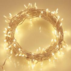 Ghirlanda Luminoasa 10m cu 100 LEDuri, Cablu Alb, Lumina Calda, Conectabila 200M, de Exterior