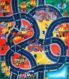Covor copii - traseu pompieri cu 3 masini si semne de circulatie - Super Jucarie Educativa!