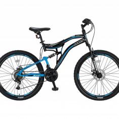 """Bicicleta MTB Full Suspensie Umit Stitch 2D, culoare Negru/Albastru Roata 26""""PB Cod:2626100000, 21"""