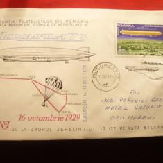 Plic special -50 Ani de la Zborul Zepelin LZ 125 ruta Balcanica ,fr.colita Zepel