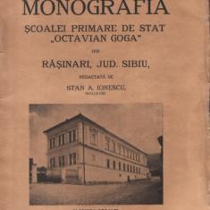 """Monografia şcoalei primare de stat """"Octavian Goga"""" din Răşinari, jud. Sibiu"""