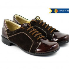 Pantofi dama casual-eleganti din piele naturala maro cu lac - P53ML, 35 - 40