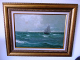 "DIMITRIE FLORIAN- ""MARINA"", ulei pe carton- 68x53 cm, Marine, Impresionism"