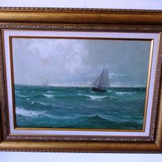 "DIMITRIE FLORIAN- ""MARINA"", ulei/ carton- 68x53 cm, Marine, Impresionism"