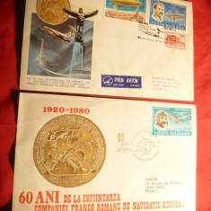 2 Plicuri Speciale -60 Ani Compania Franco-Romana Navigatie Aeriana 1980
