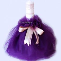 Lumanare botez fetite - model mov inchis - Lumanari botez