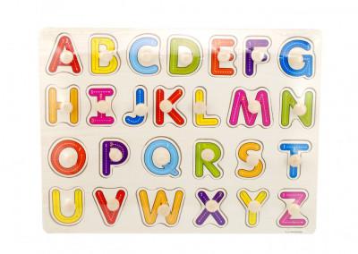 Tabla din lemn cu litere colorate, puzzle alfabet - Jucarie educativa foto