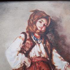Tarancuta - reproducere veche dupa Nicolae Grigorescu, pictura in ulei, Peisaje, Realism