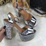 Sandale dama argintii platforma toc marime 39, 40+CADOU, Culoare: Din imagine