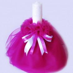 Lumanare botez fetite - model roz aprins - Lumanari botez
