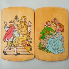 SET 2 APLICE ROMANESTI VECHI PE PLACAJ - PIROGRAVURI PICTATE - SCENE DE POVESTE