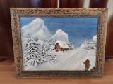 Tablou vechi pe panza peisaj de iarna